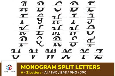 Monogram Split Letters - Alphabet Letters