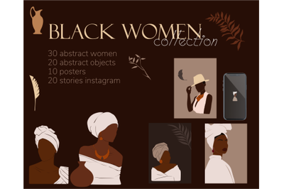 Collection of abstract women, black girl,business woman, african