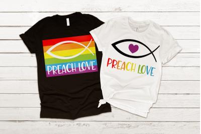 LGBT Preach Love Jesus Fish | SVG | PNG | DXF | EPS