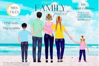 Family Clipart, DIY Standing family portrait, Custom Family Portrait,