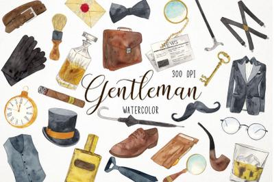 Watercolor Gentleman Clipart, Dandy Clipart, Man Clipart