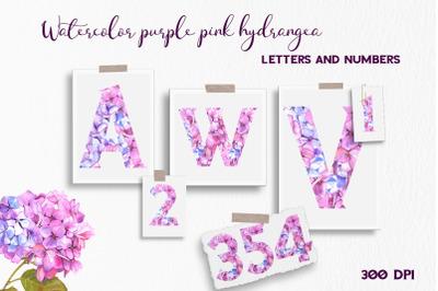 Purple pink hydrangea floral Alphabet