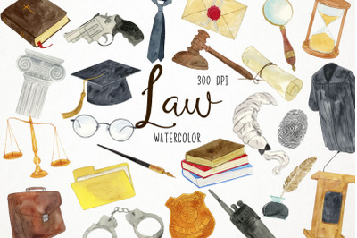 Watercolor Law Clipart, Justice Clipart, Legislation Clipart
