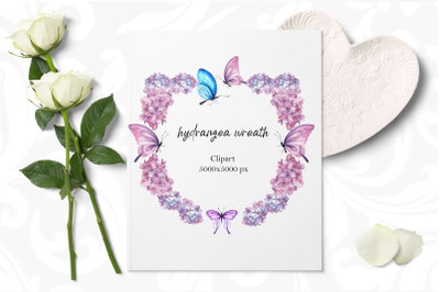 Clipart  Hydrangea and Butterfly watercolor wreath