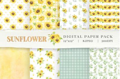 Sunflower Digital Paper Pack, Seamless floral patterns