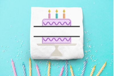 Birthday Cake on Cake Stand Split | Applique Embroidery