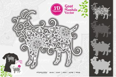 Goat Mandala Vector SVG 3D Layered #3