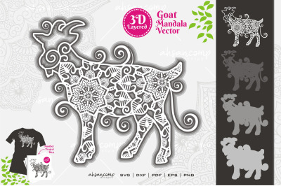 Goat Mandala Vector SVG 3D Layered #4