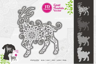 Goat Mandala Vector SVG 3D Layered #5