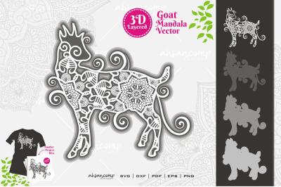 Goat Mandala Vector SVG 3D Layered #6