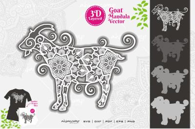 Goat Mandala Vector SVG 3D Layered #7