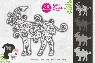 Goat Mandala Vector SVG 3D Layered #8