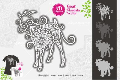 Goat Mandala Vector SVG 3D Layered #9