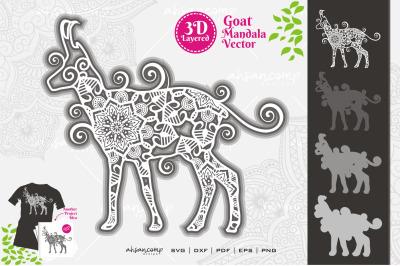 Goat Mandala Vector SVG 3D Layered #10