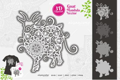 Goat Mandala Vector SVG 3D Layered #11