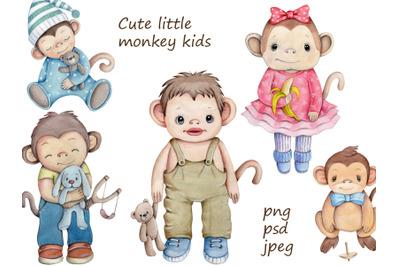 Cute Little Monkey Kids.  Watercolor illustrations.