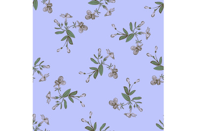 Drawing meadow bloom flowers. Floral seamless pattern print. Nature ab
