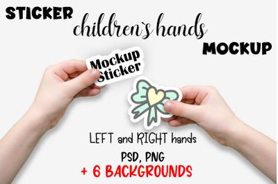 Sticker Mockup. Child Hand Sticker Mockup PSD, PNG files.