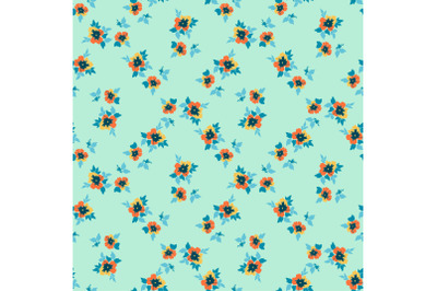 Drawing bloom flowers roses. Floral seamless pattern print. Nature abs