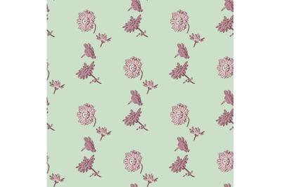 Drawing bloom Chrysanthemum flowers. Floral seamless pattern print. Na