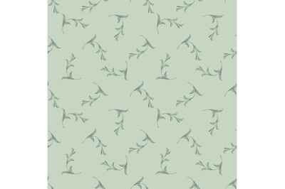 Drawing curved plant branches with leaves in pastel mint colors. Trend