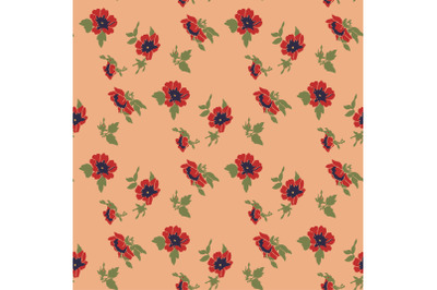 Drawing bloom red flowers roses. Floral seamless pattern print. Nature