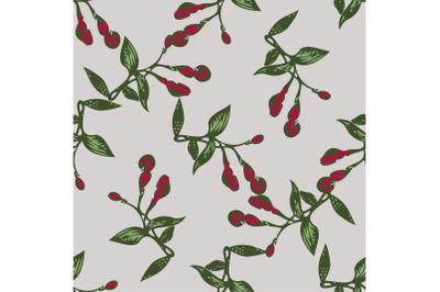Drawing buds flowers Fuchsia. Beautiful floral seamless pattern print.