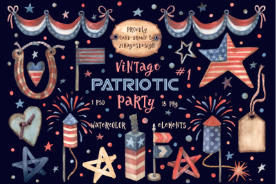Watercolor 4th July PNG Clipart #1
