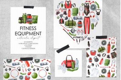 Fitness Equipment watercolor clipart