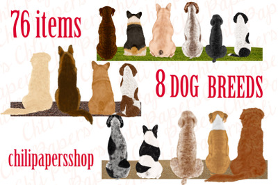 Dog Breeds Clipart,Dogs clip art,Pets Illustrations,Puppies