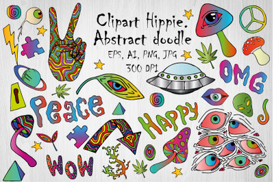 Psychedelic, Hippie, Alien clipart. Sublimation. Lettering