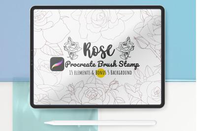 Procreate Brush Stamp Set Rose Flower Line Art DIY Graphic