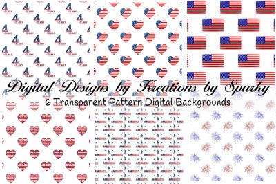 July 4 Transparent Pattern Digital Backgrounds