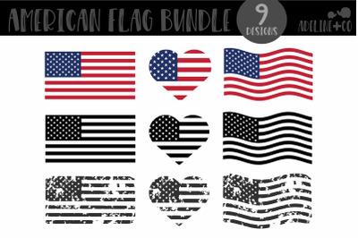 American Flag Bundle, SVG, distressed, black