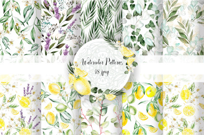 18 Hand Drawn Watercolor patterns