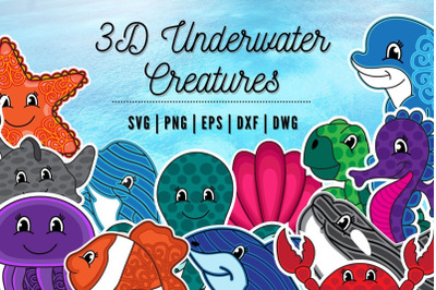3D Underwater Creatures SVG Bundle