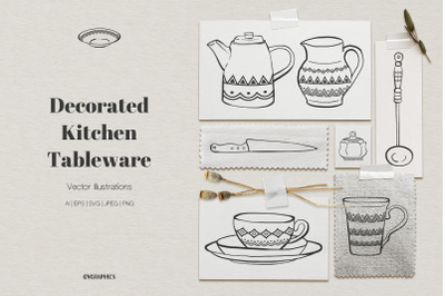 Decorated Kitchen Tableware Vector Illustrations