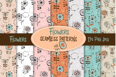 Floral seamless patterns digital paper. Scrapbooking