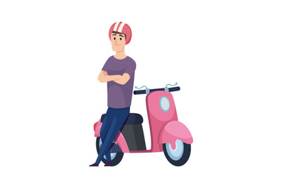 Man and scooter. Pink motorcycle, flat male character in helmet. Boy w