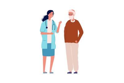 Old man and doctor. Health prevention, medical consultation for elderl