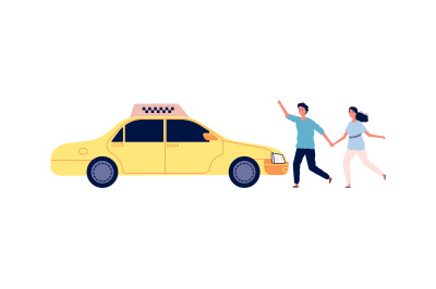 People catch taxi. Young couple stop yellow car. Isolated man woman an