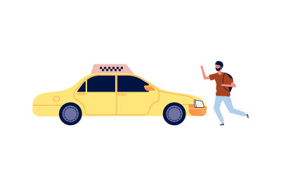 Tourist catches taxi. Cartoon yellow car and man with backpack. Isolat