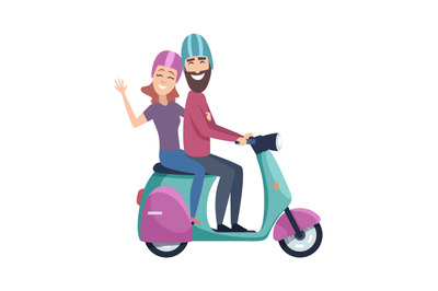 Travellers on scooter. Happy tourists riding motorbike. Isolated flat