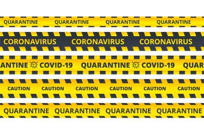 Yellow caution stripes. Quarantine coronavirus or COVID19 attention ri