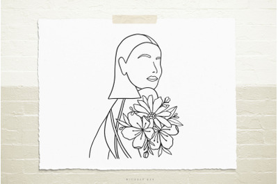 Female with flowers  svg cut file