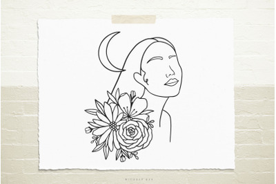 Female with flowers and moon  svg cut file