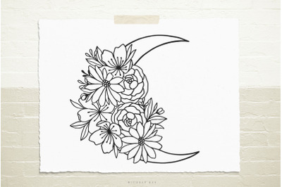 Mystical moon with flowers  svg cut file