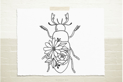Beetle insect with flowers  svg cut file