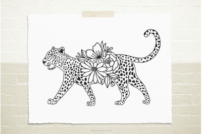 Cheetah with flowers  svg cut file
