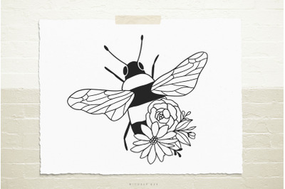 Bee with flowers  svg cut file